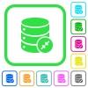 Shrink database vivid colored flat icons - Shrink database vivid colored flat icons in curved borders on white background
