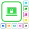 Locked laptop vivid colored flat icons - Locked laptop vivid colored flat icons in curved borders on white background