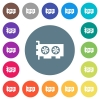 Computer video card flat white icons on round color backgrounds - Computer video card flat white icons on round color backgrounds. 17 background color variations are included.