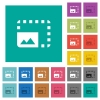 Enlarge photo square flat multi colored icons - Enlarge photo multi colored flat icons on plain square backgrounds. Included white and darker icon variations for hover or active effects.