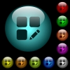 Rename component icons in color illuminated glass buttons - Rename component icons in color illuminated spherical glass buttons on black background. Can be used to black or dark templates