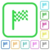 Race flag vivid colored flat icons - Race flag vivid colored flat icons in curved borders on white background