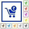 Checkout with Rupee cart flat framed icons - Checkout with Rupee cart flat color icons in square frames on white background