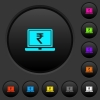 Laptop with Rupee sign dark push buttons with vivid color icons on dark grey background - Laptop with Rupee sign dark push buttons with color icons