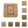 Mobile statistics wooden buttons - Mobile statistics on rounded square carved wooden button styles