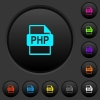 PHP file format dark push buttons with color icons - PHP file format dark push buttons with vivid color icons on dark grey background