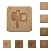 Mailbox wooden buttons - Mailbox on rounded square carved wooden button styles