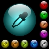 Color picker icons in color illuminated glass buttons - Color picker icons in color illuminated spherical glass buttons on black background. Can be used to black or dark templates