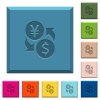 Yen Dollar money exchange engraved icons on edged square buttons - Yen Dollar money exchange engraved icons on edged square buttons in various trendy colors