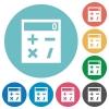 Pocket calculator flat round icons - Pocket calculator flat white icons on round color backgrounds