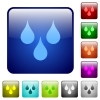 Water drops color square buttons - Water drops icons in rounded square color glossy button set