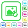 Image tagging vivid colored flat icons - Image tagging vivid colored flat icons in curved borders on white background