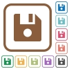 File record simple icons - File record simple icons in color rounded square frames on white background