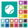 Tennis ball square flat multi colored icons - Tennis ball multi colored flat icons on plain square backgrounds. Included white and darker icon variations for hover or active effects.