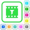 Filter movie vivid colored flat icons - Filter movie vivid colored flat icons in curved borders on white background