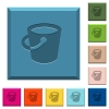 Bucket engraved icons on edged square buttons in various trendy colors - Bucket engraved icons on edged square buttons
