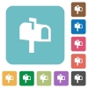 Mailbox rounded square flat icons - Mailbox white flat icons on color rounded square backgrounds