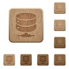 Network database on rounded square carved wooden button styles - Network database wooden buttons