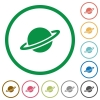 Planet flat icons with outlines - Planet flat color icons in round outlines on white background