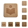 Library wooden buttons - Library on rounded square carved wooden button styles