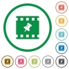 Pin movie flat icons with outlines - Pin movie flat color icons in round outlines on white background