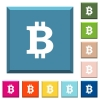 Bitcoin sign white icons on edged square buttons - Bitcoin sign white icons on edged square buttons in various trendy colors