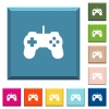 Game controller white icons on edged square buttons - Game controller white icons on edged square buttons in various trendy colors