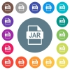 JAR file format flat white icons on round color backgrounds - JAR file format flat white icons on round color backgrounds. 17 background color variations are included.