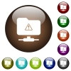 FTP warning color glass buttons - FTP warning white icons on round color glass buttons