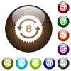 Bitcoin pay back guarantee sticker color glass buttons - Bitcoin pay back guarantee sticker white icons on round color glass buttons