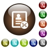 Cut contact data color glass buttons - Cut contact data white icons on round color glass buttons