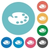 Color palette flat round icons - Color palette flat white icons on round color backgrounds