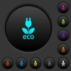 Eco energy dark push buttons with vivid color icons on dark grey background - Eco energy dark push buttons with color icons