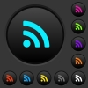 Radio signal dark push buttons with vivid color icons on dark grey background - Radio signal dark push buttons with color icons