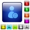 User account properties color square buttons - User account properties icons in rounded square color glossy button set