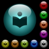 Library icons in color illuminated glass buttons - Library icons in color illuminated spherical glass buttons on black background. Can be used to black or dark templates