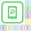 Mobile search vivid colored flat icons in curved borders on white background - Mobile search vivid colored flat icons