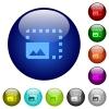 Enlarge photo color glass buttons - Enlarge photo icons on round color glass buttons