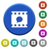 Comment movie round color beveled buttons with smooth surfaces and flat white icons - Comment movie beveled buttons