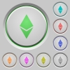 Ethereum digital cryptocurrency push buttons - Ethereum digital cryptocurrency color icons on sunk push buttons