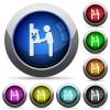 Yen cash machine round glossy buttons - Yen cash machine icons in round glossy buttons with steel frames
