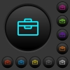 Toolbox dark push buttons with color icons - Toolbox dark push buttons with vivid color icons on dark grey background