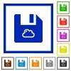 Cloud file flat framed icons - Cloud file flat color icons in square frames on white background