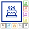 Birthday cake flat color icons in square frames on white background - Birthday cake flat framed icons