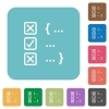 Source code checking rounded square flat icons - Source code checking white flat icons on color rounded square backgrounds