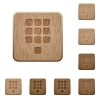 Dial pad wooden buttons - Dial pad on rounded square carved wooden button styles