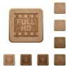 Full HD movie format wooden buttons - Full HD movie format on rounded square carved wooden button styles