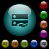 Shared drive icons in color illuminated glass buttons - Shared drive icons in color illuminated spherical glass buttons on black background. Can be used to black or dark templates