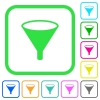 Funnel vivid colored flat icons - Funnel vivid colored flat icons in curved borders on white background
