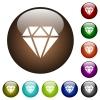 Diamond color glass buttons - Diamond white icons on round color glass buttons